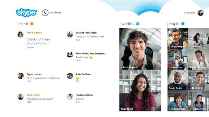 Skype: App para Windows 8actualizado