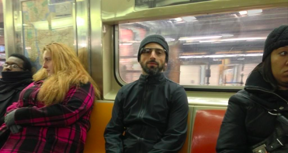 sergey brin in the subway